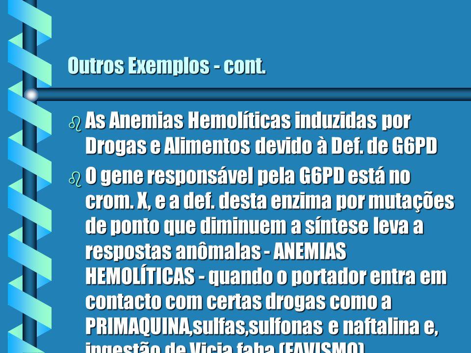 Outros Exemplos - cont. b As Anemias Hemolíticas induzidas por Drogas e Alimentos devido à Def. de G6PD b O gene responsável pela G6PD está no crom. X