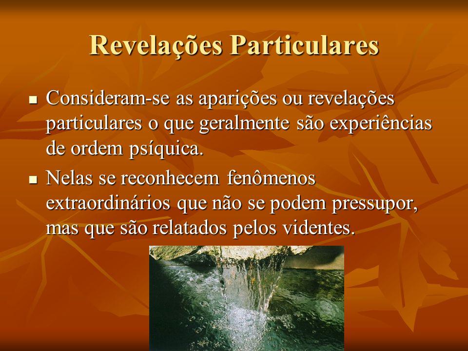 Revelações Particulares Consideram-se as aparições ou revelações particulares o que geralmente são experiências de ordem psíquica. Consideram-se as ap