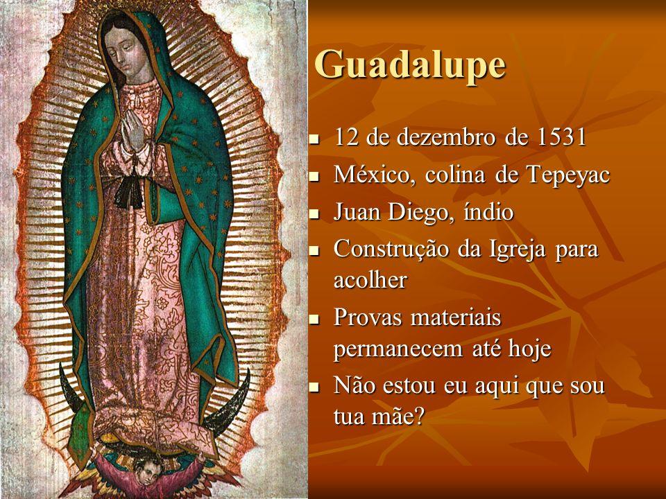 Guadalupe Guadalupe 12 de dezembro de 1531 12 de dezembro de 1531 México, colina de Tepeyac México, colina de Tepeyac Juan Diego, índio Juan Diego, ín