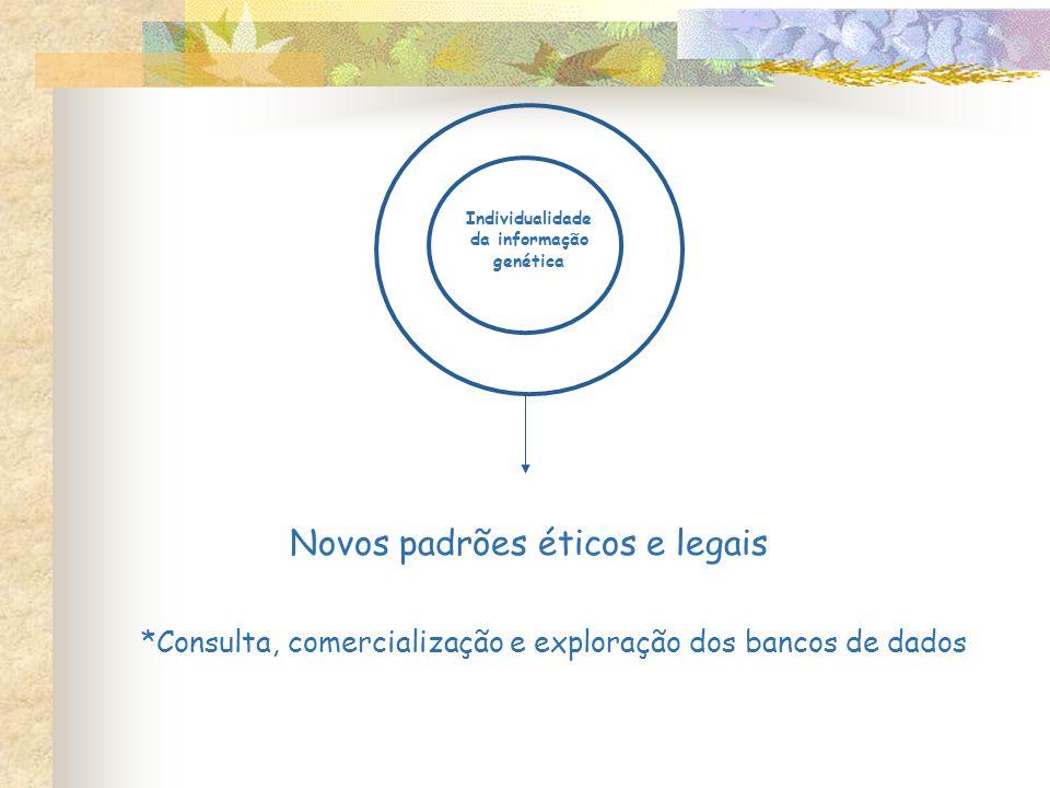 Individualidade da informação genética Novos padrões éticos e legais *Consulta, comercialização e exploração dos bancos de dados