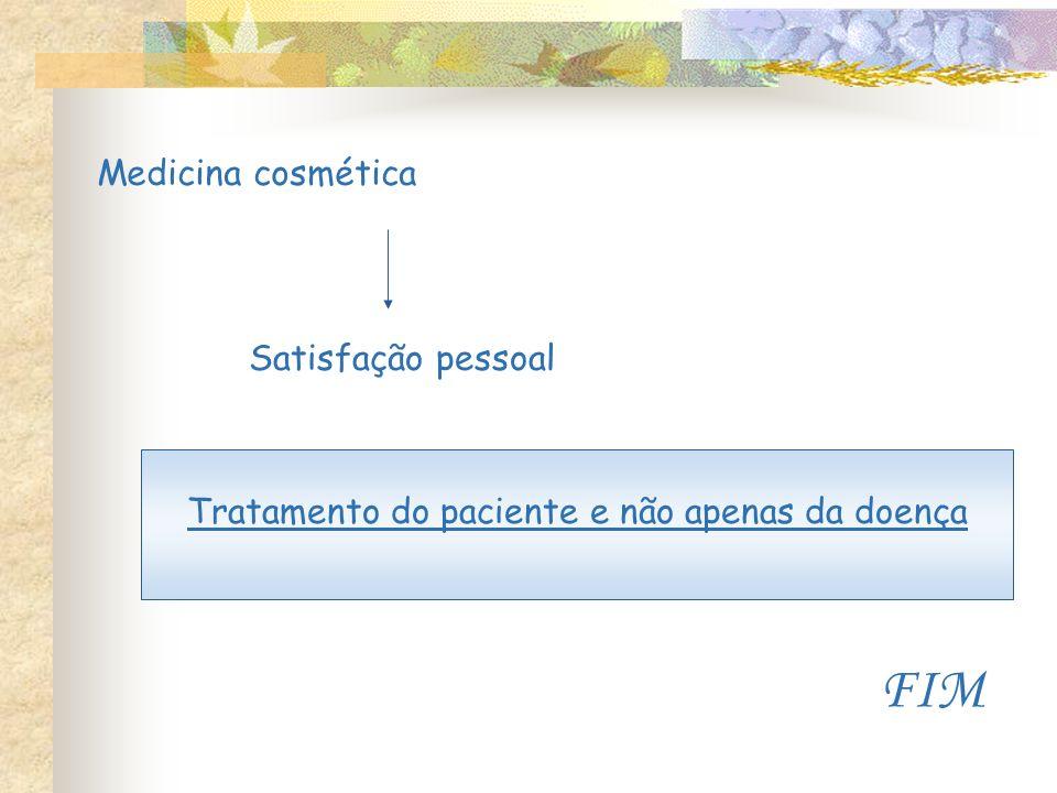 Medicina cosmética Satisfação pessoal Tratamento do paciente e não apenas da doença FIM