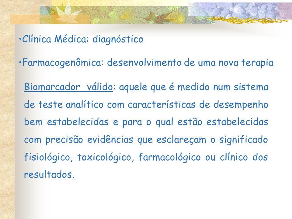 Clínica Médica: diagnóstico Farmacogenômica: desenvolvimento de uma nova terapia Biomarcador válido: aquele que é medido num sistema de teste analític
