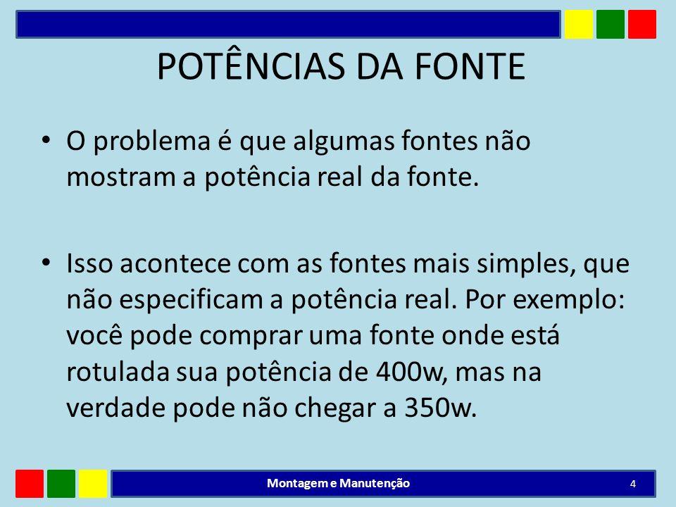 POTÊNCIA DA FONTE Como saber a potência real da fonte.