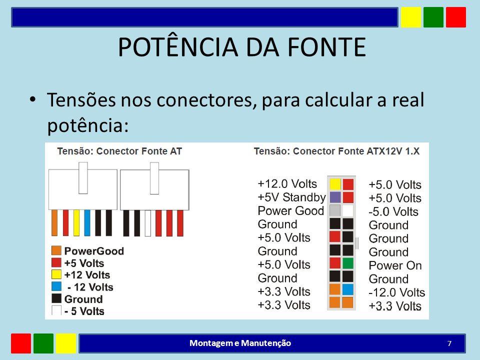 POTÊNCIA DA FONTE Tensões nos conectores, para calcular a real potência: Montagem e Manutenção 7