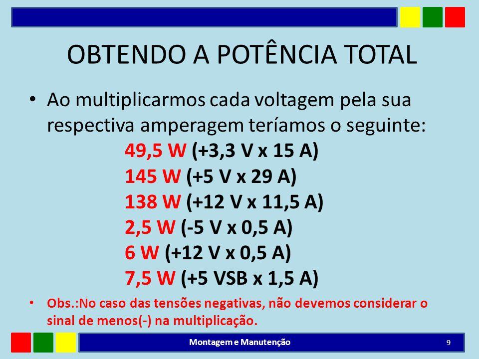 OBTENDO A POTÊNCIA TOTAL Ao multiplicarmos cada voltagem pela sua respectiva amperagem teríamos o seguinte: 49,5 W (+3,3 V x 15 A) 145 W (+5 V x 29 A)
