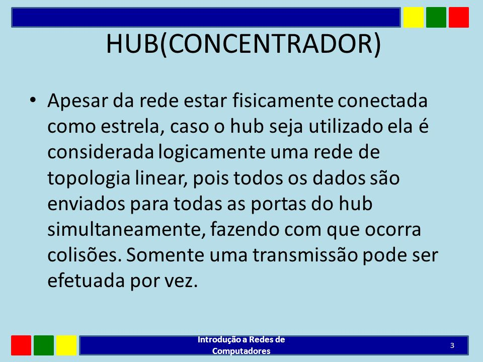 HUB(CONCENTRADOR) permite a remoção e inserção de novas estações com a rede ligada; quando há problemas com algum cabo, somente a estação correspondente deixa de funcionar; Introdução a Redes de Computadores 4