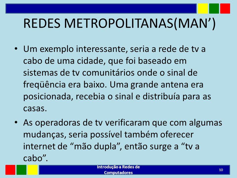 REDES METROPOLITANAS(MAN) Um exemplo interessante, seria a rede de tv a cabo de uma cidade, que foi baseado em sistemas de tv comunitários onde o sina
