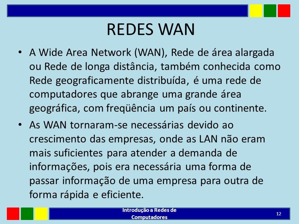 REDES WAN A Wide Area Network (WAN), Rede de área alargada ou Rede de longa distância, também conhecida como Rede geograficamente distribuída, é uma r
