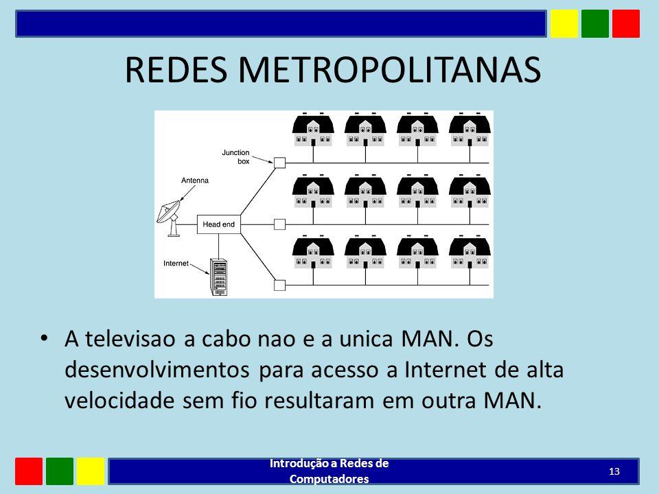 REDES METROPOLITANAS A televisao a cabo nao e a unica MAN. Os desenvolvimentos para acesso a Internet de alta velocidade sem fio resultaram em outra M