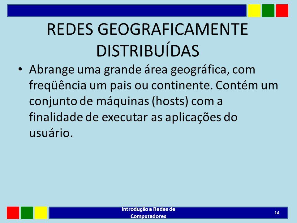REDES GEOGRAFICAMENTE DISTRIBUÍDAS Abrange uma grande área geográfica, com freqüência um pais ou continente. Contém um conjunto de máquinas (hosts) co
