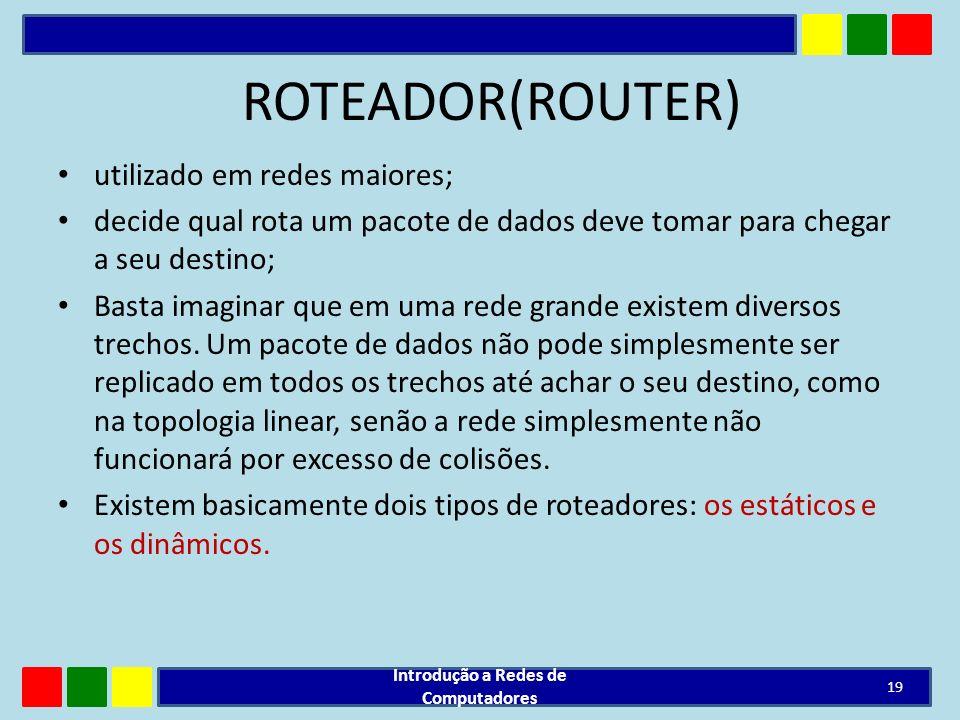 ROTEADOR(ROUTER) utilizado em redes maiores; decide qual rota um pacote de dados deve tomar para chegar a seu destino; Basta imaginar que em uma rede