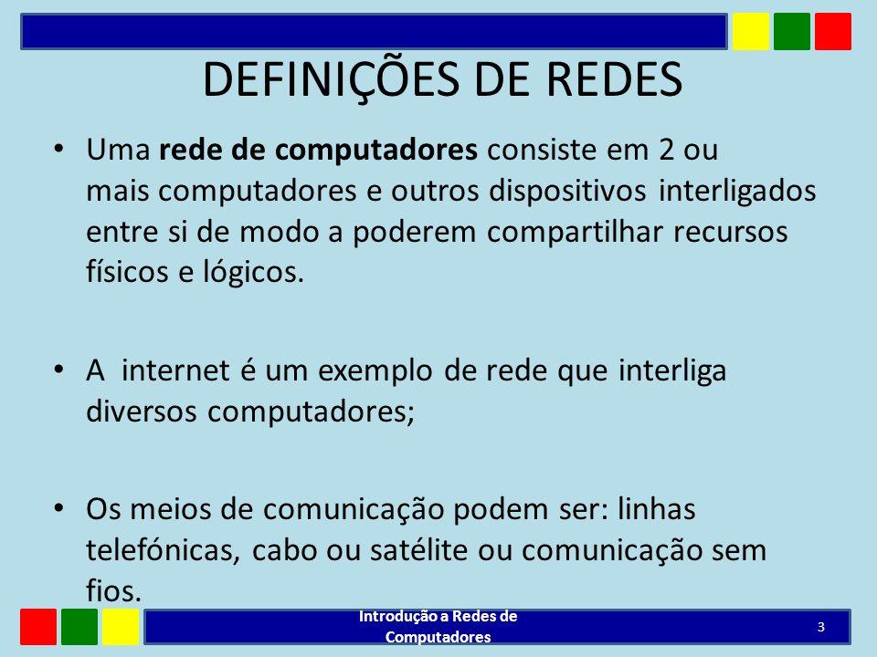 DEFINIÇÕES DE REDES Uma rede de computadores consiste em 2 ou mais computadores e outros dispositivos interligados entre si de modo a poderem comparti