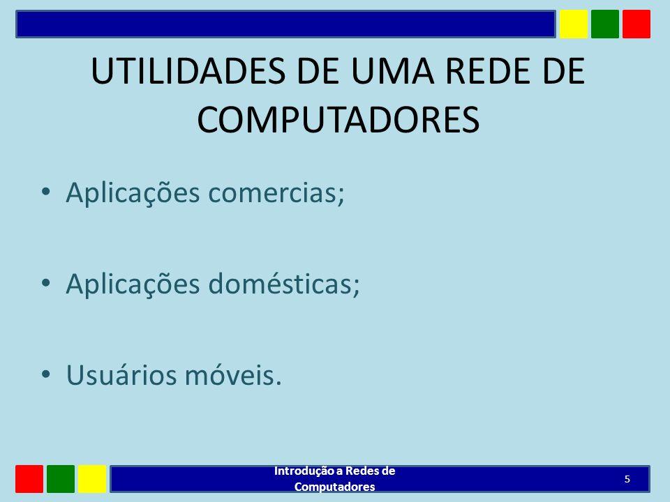 UTILIDADES DE UMA REDE DE COMPUTADORES Aplicações comercias; Aplicações domésticas; Usuários móveis. Introdução a Redes de Computadores 5