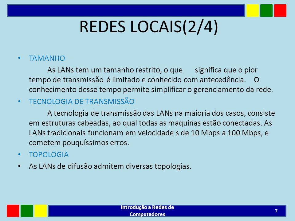 REDES LOCAIS(3/4) Geografia limitada : Interligam computadores de uma sala, prédio ou conjunto de prédios Redes LANs geralmente são particulares em oposição às WANs.