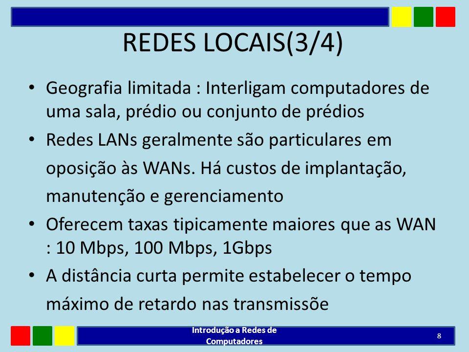 REDES LOCAIS(3/4) Geografia limitada : Interligam computadores de uma sala, prédio ou conjunto de prédios Redes LANs geralmente são particulares em op
