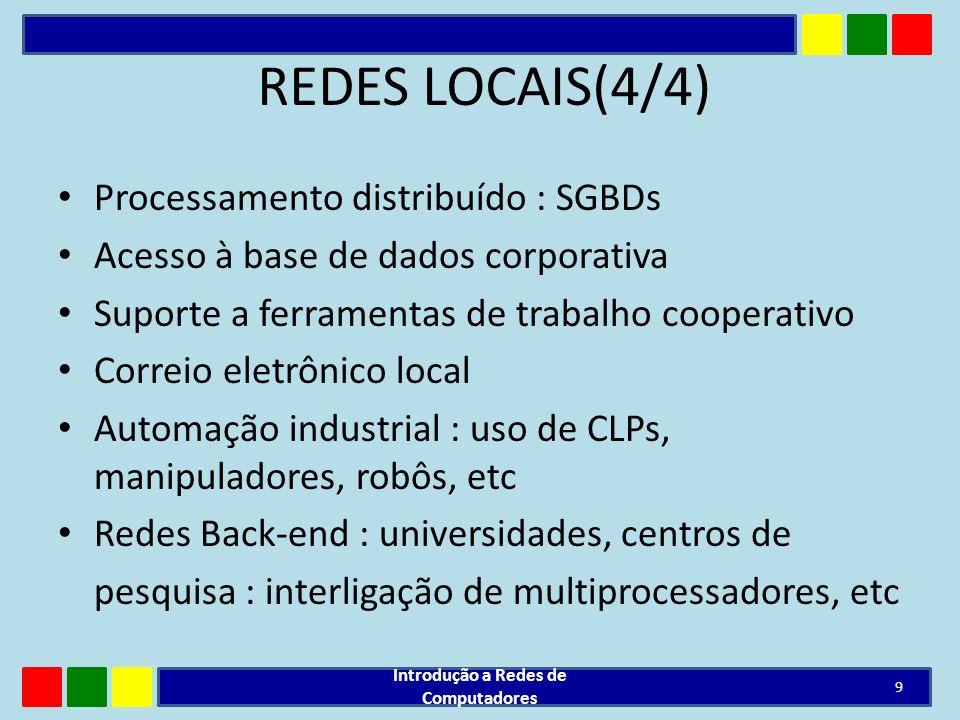 REDES LOCAIS(4/4) Processamento distribuído : SGBDs Acesso à base de dados corporativa Suporte a ferramentas de trabalho cooperativo Correio eletrônic