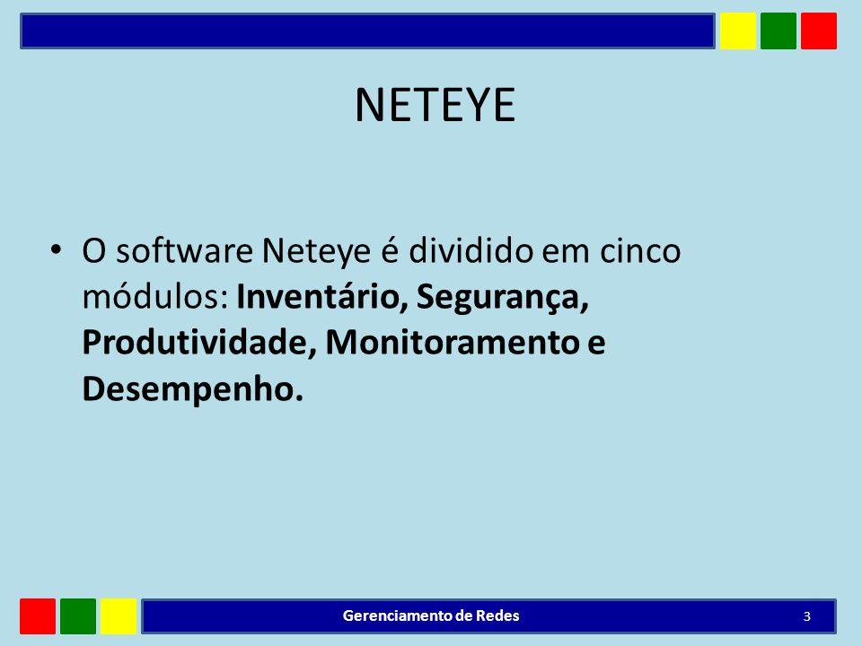 NETEYE O software Neteye é dividido em cinco módulos: Inventário, Segurança, Produtividade, Monitoramento e Desempenho. Gerenciamento de Redes 3