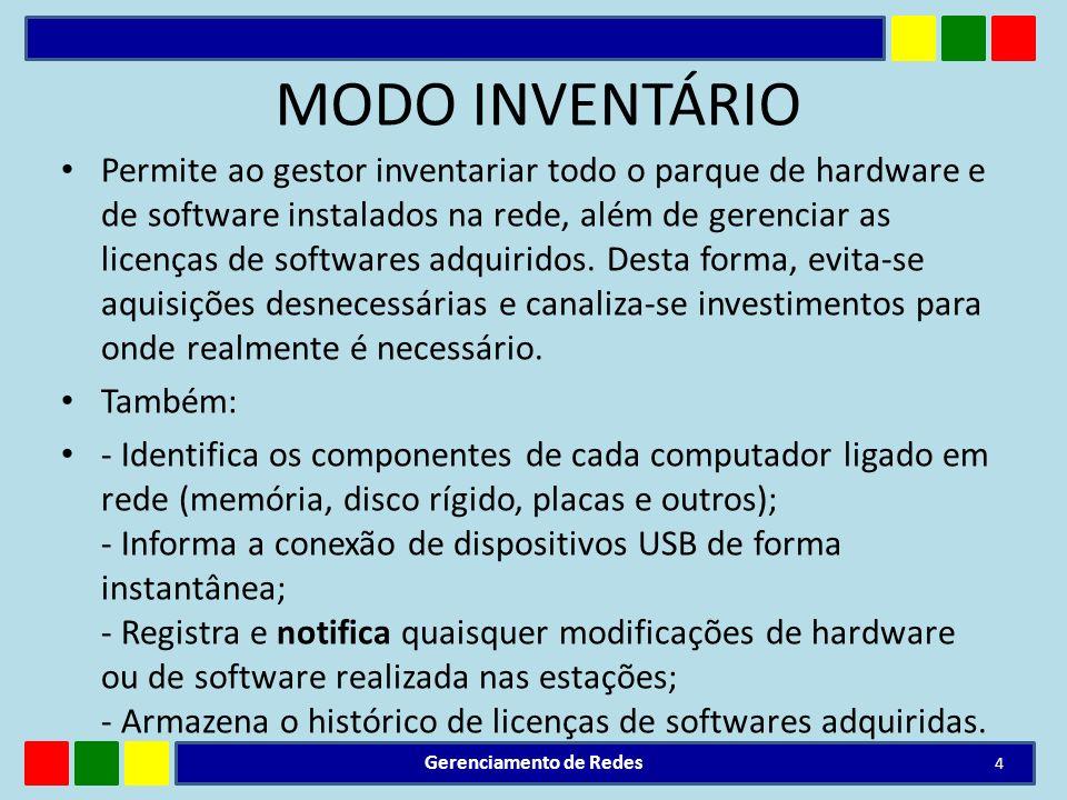 MODO INVENTÁRIO Permite ao gestor inventariar todo o parque de hardware e de software instalados na rede, além de gerenciar as licenças de softwares a