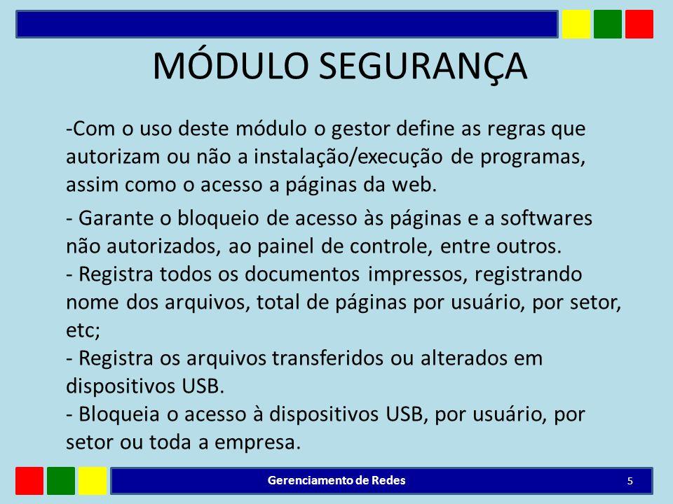 MÓDULO SEGURANÇA -Com o uso deste módulo o gestor define as regras que autorizam ou não a instalação/execução de programas, assim como o acesso a pági