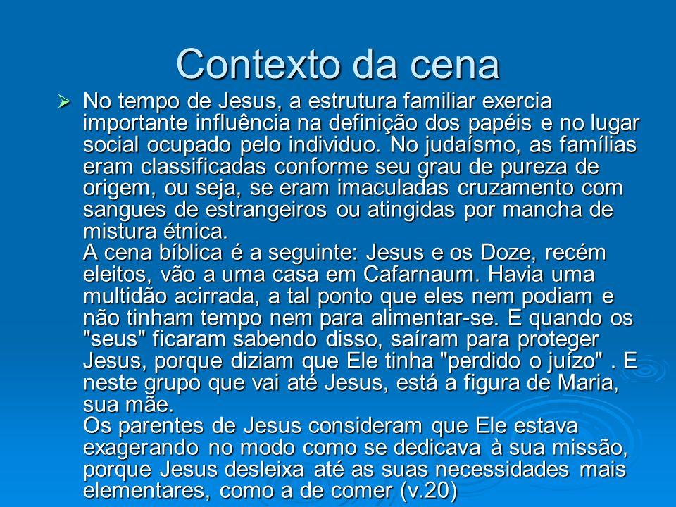 Contexto da cena No tempo de Jesus, a estrutura familiar exercia importante influência na definição dos papéis e no lugar social ocupado pelo individu
