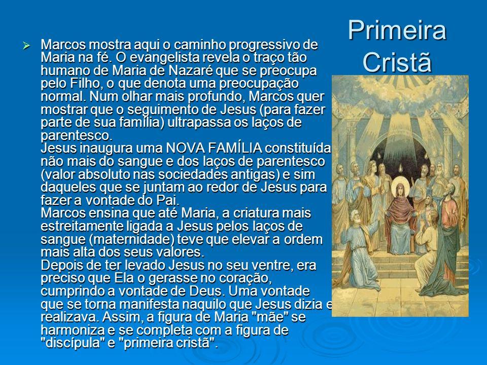 Primeira Cristã Marcos mostra aqui o caminho progressivo de Maria na fé. O evangelista revela o traço tão humano de Maria de Nazaré que se preocupa pe