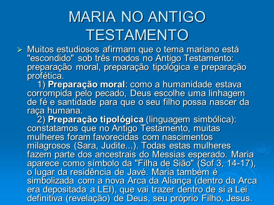 MARIA NO ANTIGO TESTAMENTO Muitos estudiosos afirmam que o tema mariano está