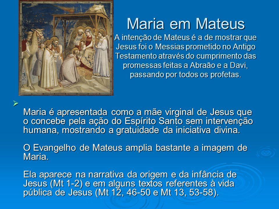 Maria em Mateus A intenção de Mateus é a de mostrar que Jesus foi o Messias prometido no Antigo Testamento através do cumprimento das promessas feitas