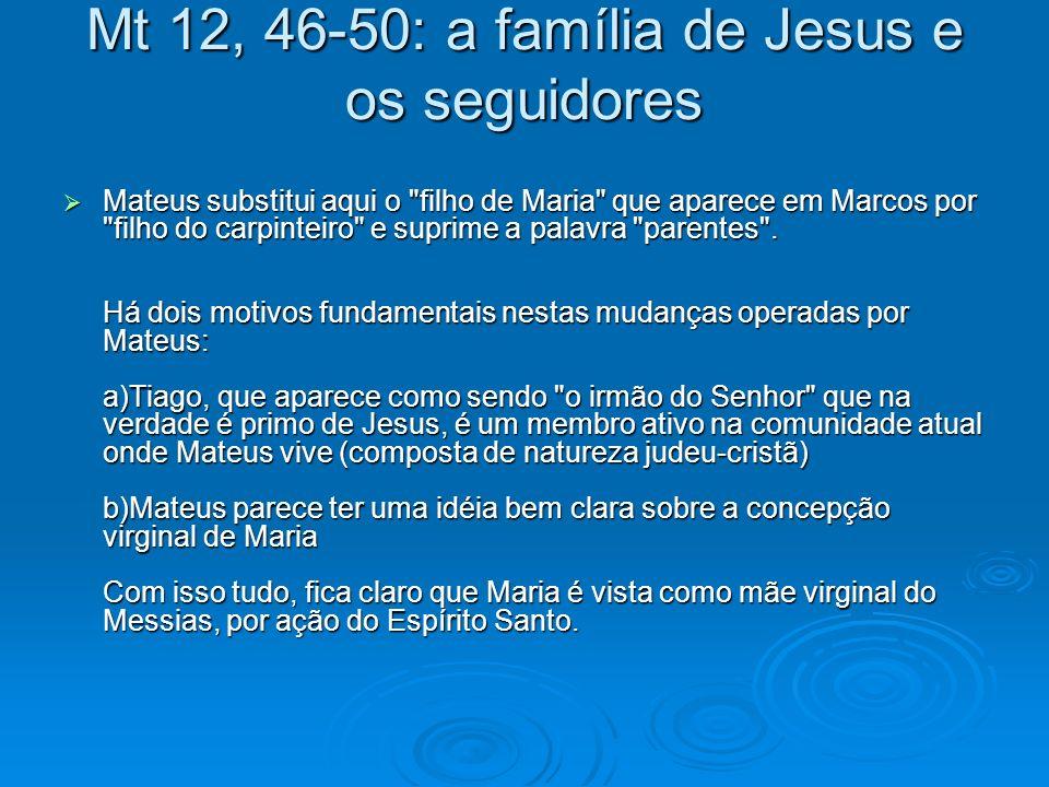 Mt 12, 46-50: a família de Jesus e os seguidores Mateus substitui aqui o