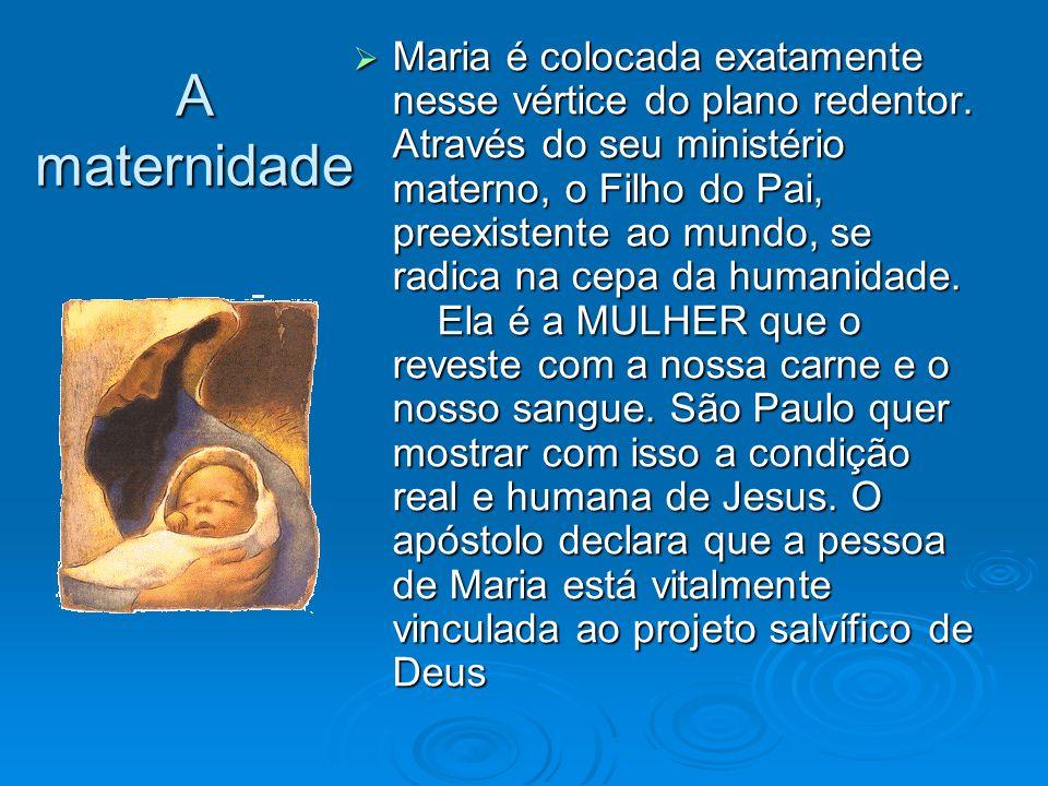 A maternidade Maria é colocada exatamente nesse vértice do plano redentor. Através do seu ministério materno, o Filho do Pai, preexistente ao mundo, s