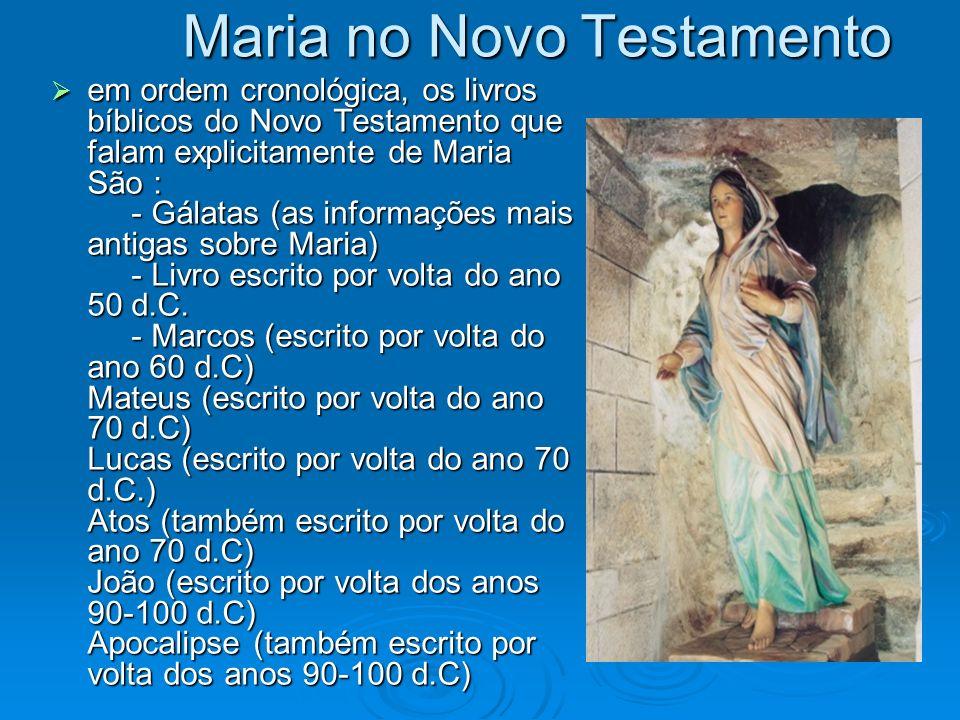 Maria no Novo Testamento em ordem cronológica, os livros bíblicos do Novo Testamento que falam explicitamente de Maria São : - Gálatas (as informações