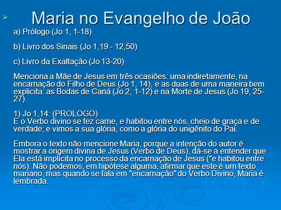 Maria no Evangelho de João a) Prólogo (Jo 1, 1-18) b) Livro dos Sinais (Jo 1,19 - 12,50) c) Livro da Exaltação (Jo 13-20) Menciona a Mãe de Jesus em t