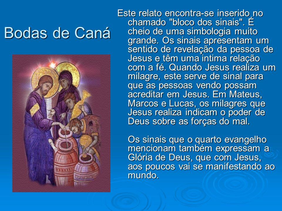Bodas de Caná Um primeiro dado interessante que se percebe à primeira vista é que João não menciona o nome Maria .