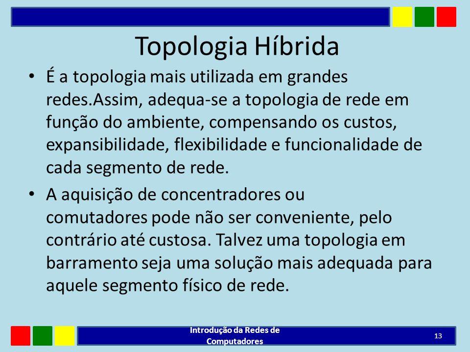 Topologia Híbrida É a topologia mais utilizada em grandes redes.Assim, adequa-se a topologia de rede em função do ambiente, compensando os custos, exp