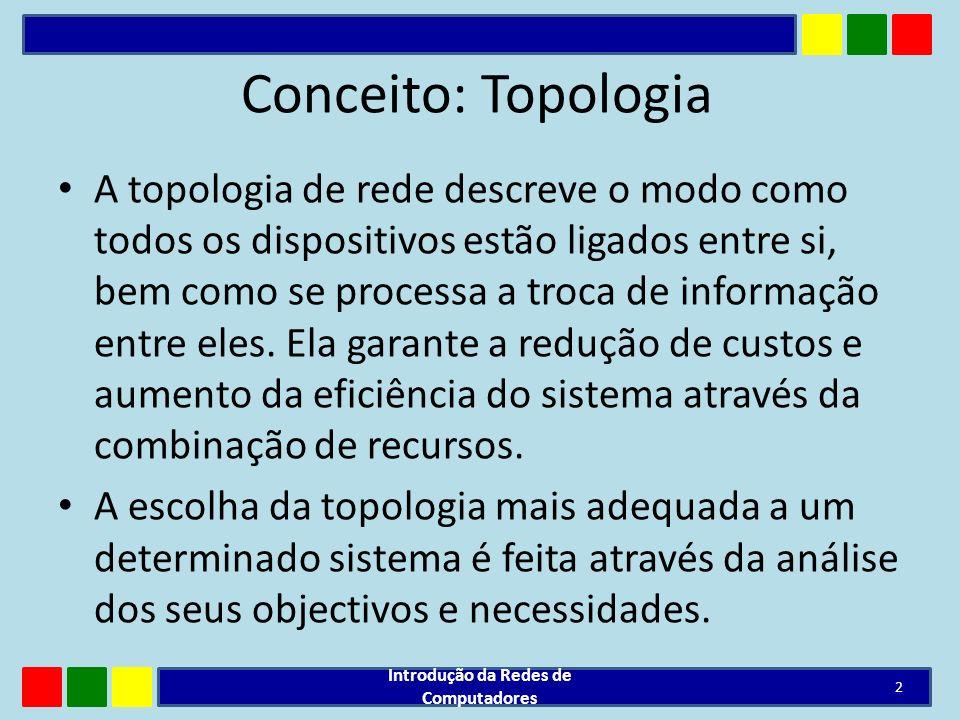 Conceito: Topologia A topologia de rede descreve o modo como todos os dispositivos estão ligados entre si, bem como se processa a troca de informação