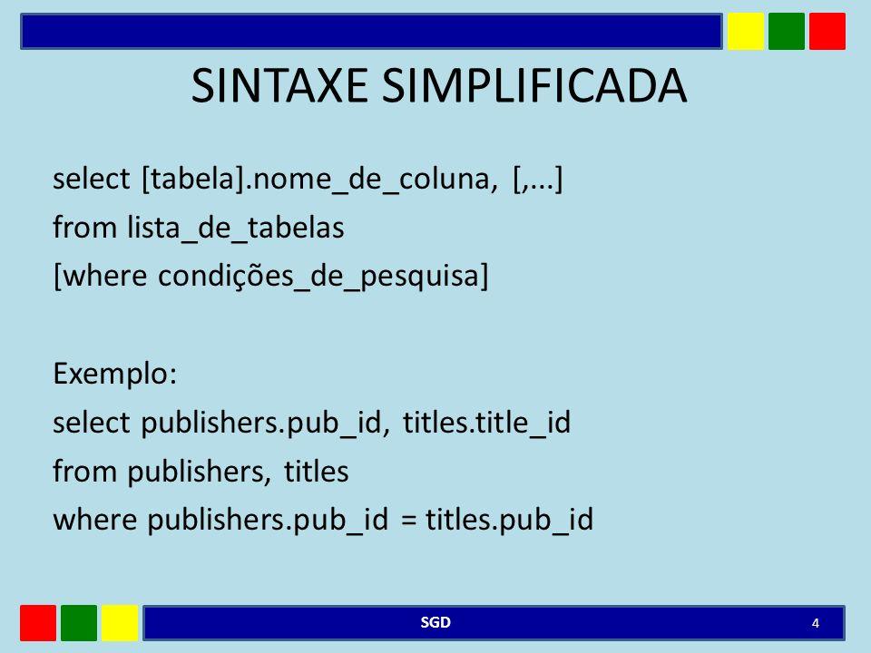 EXEMPLO DE CRIAÇÃO DE ÍNDEX Pode ser usado tanto no SQL SERVER, MySQL ou Oracle: – Índice na tabela tab_cliente, sendo que o campo de pesquisa é cpf (numero do CPF) CREATE INDEX nome_do_indice on tab_cliente(cpf) SGD 15