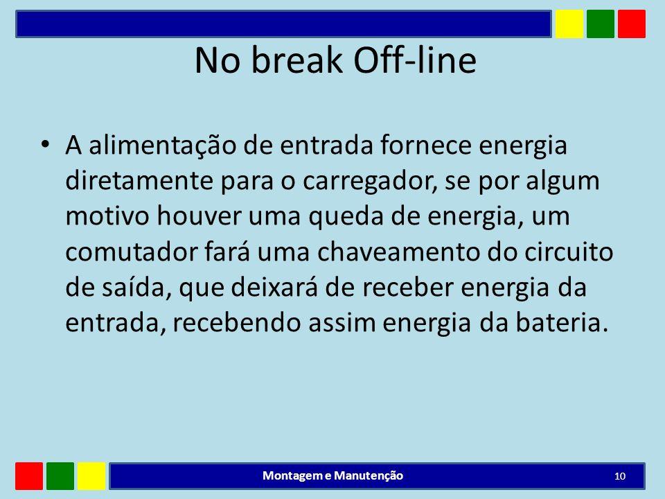 No break Off-line A alimentação de entrada fornece energia diretamente para o carregador, se por algum motivo houver uma queda de energia, um comutado