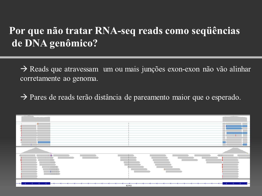 Por que não tratar RNA-seq reads como seqüências de DNA genômico? Reads que atravessam um ou mais junções exon-exon não vão alinhar corretamente ao ge