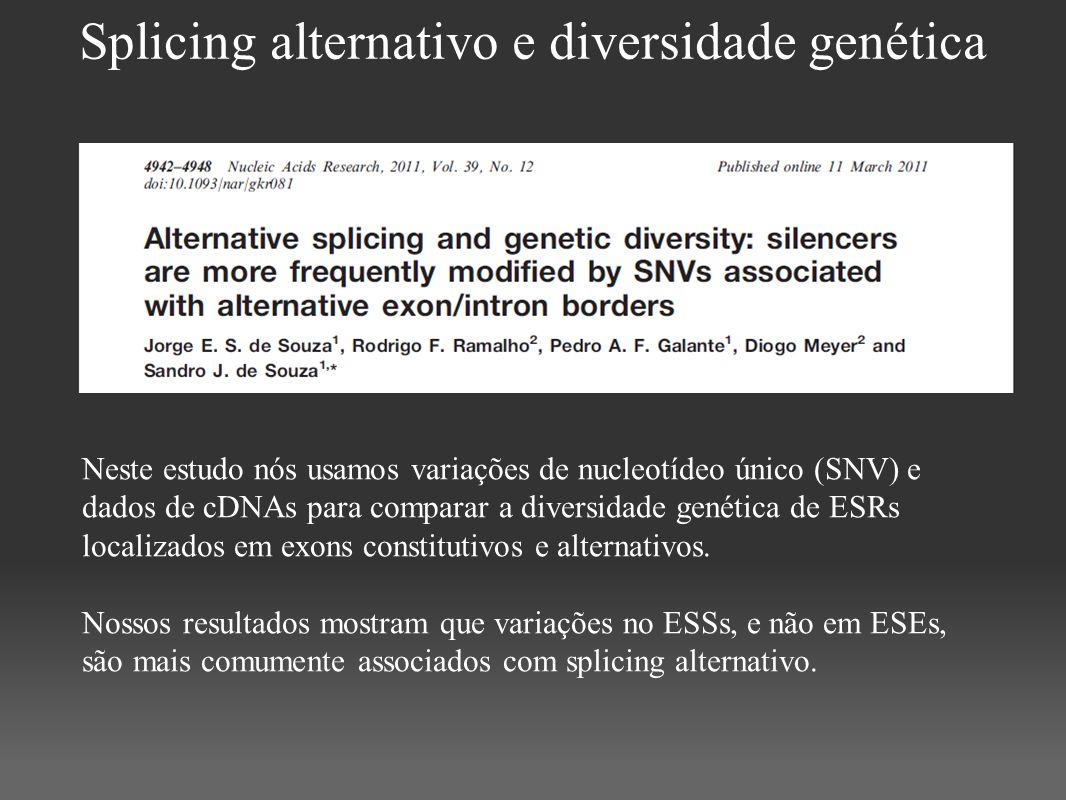 Splicing alternativo e diversidade genética Neste estudo nós usamos variações de nucleotídeo único (SNV) e dados de cDNAs para comparar a diversidade
