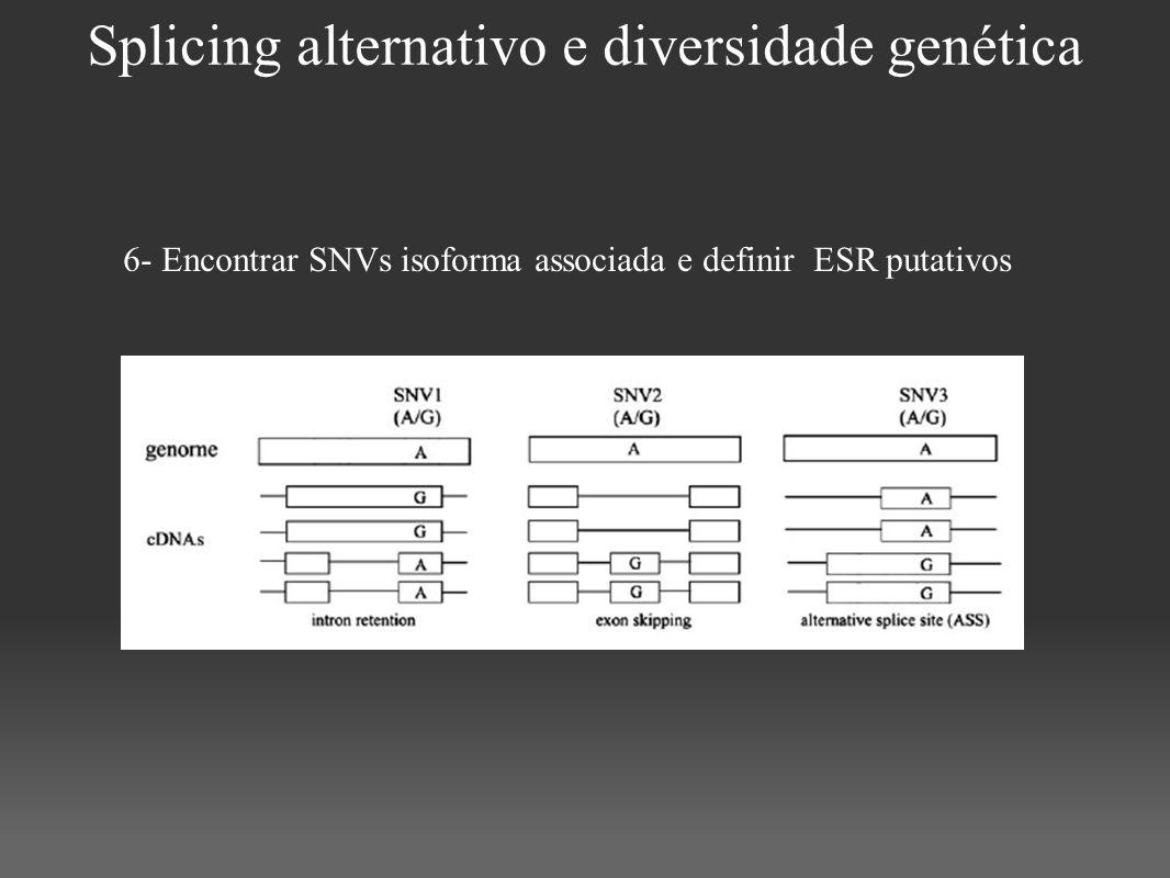Splicing alternativo e diversidade genética 6- Encontrar SNVs isoforma associada e definir ESR putativos