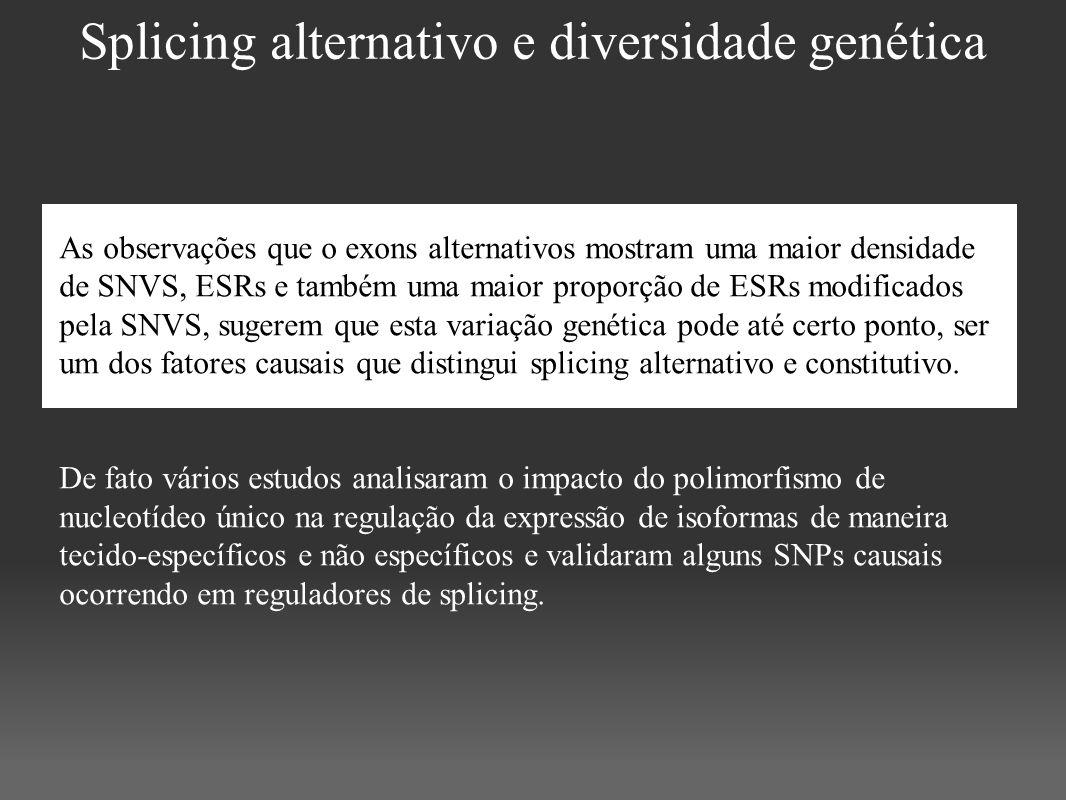 Splicing alternativo e diversidade genética As observações que o exons alternativos mostram uma maior densidade de SNVS, ESRs e também uma maior propo