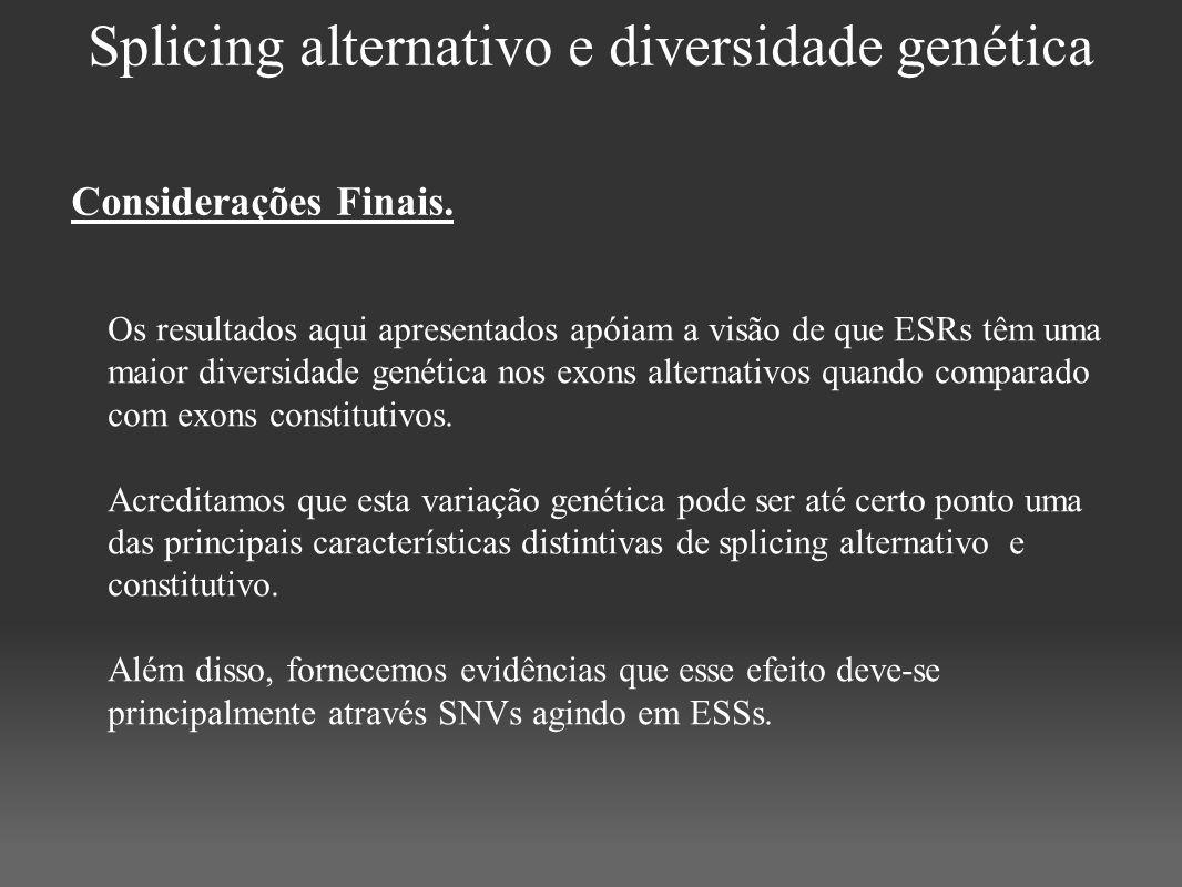 Splicing alternativo e diversidade genética Os resultados aqui apresentados apóiam a visão de que ESRs têm uma maior diversidade genética nos exons al