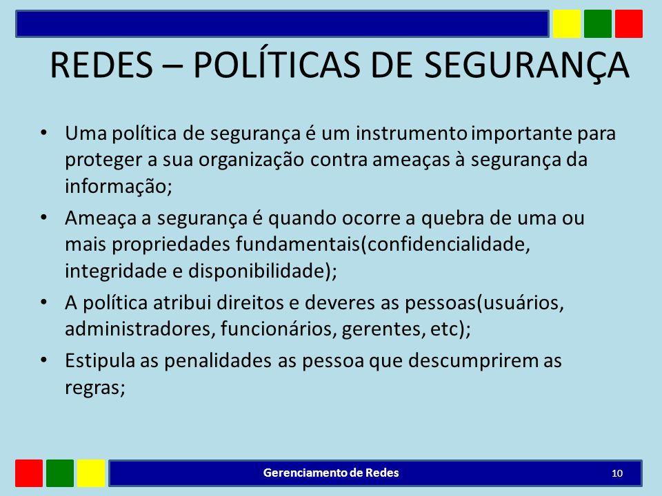 REDES – POLÍTICAS DE SEGURANÇA Uma política de segurança é um instrumento importante para proteger a sua organização contra ameaças à segurança da inf