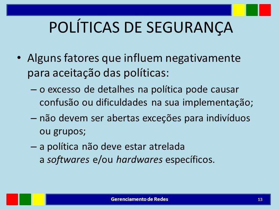 POLÍTICAS DE SEGURANÇA Alguns fatores que influem negativamente para aceitação das políticas: – o excesso de detalhes na política pode causar confusão