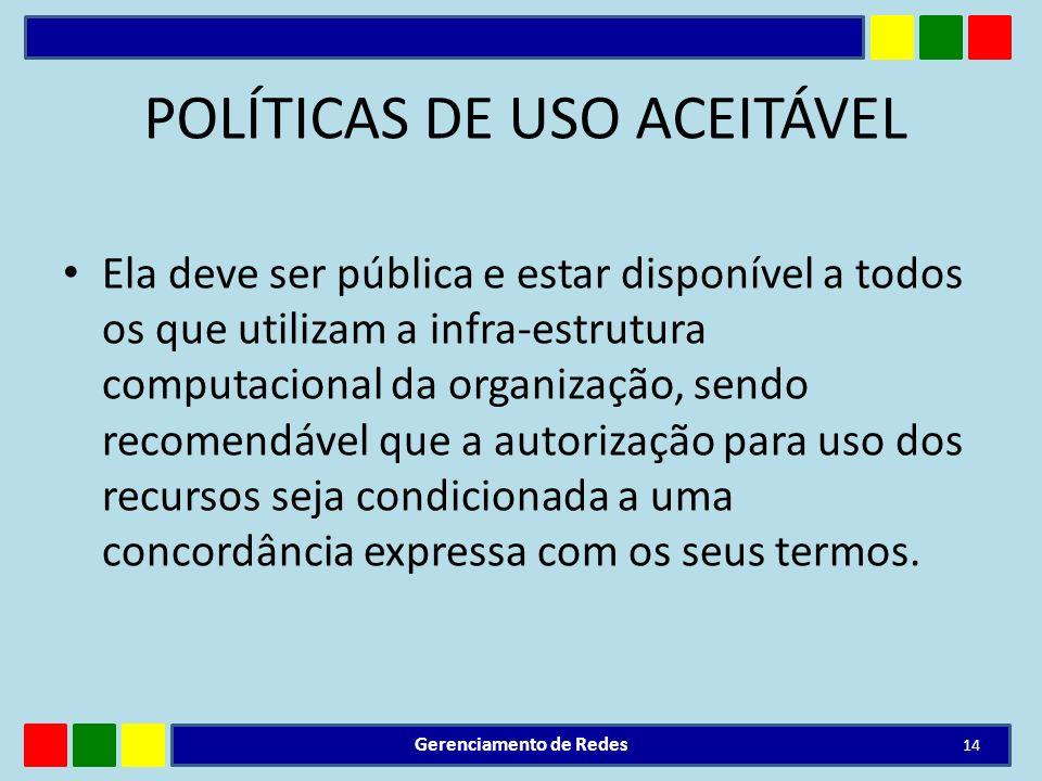 POLÍTICAS DE USO ACEITÁVEL Ela deve ser pública e estar disponível a todos os que utilizam a infra-estrutura computacional da organização, sendo recom