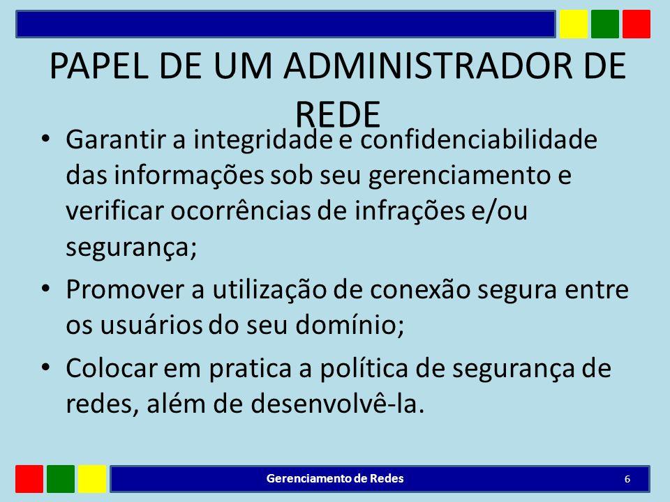 PAPEL DE UM ADMINISTRADOR DE REDE Garantir a integridade e confidenciabilidade das informações sob seu gerenciamento e verificar ocorrências de infraç