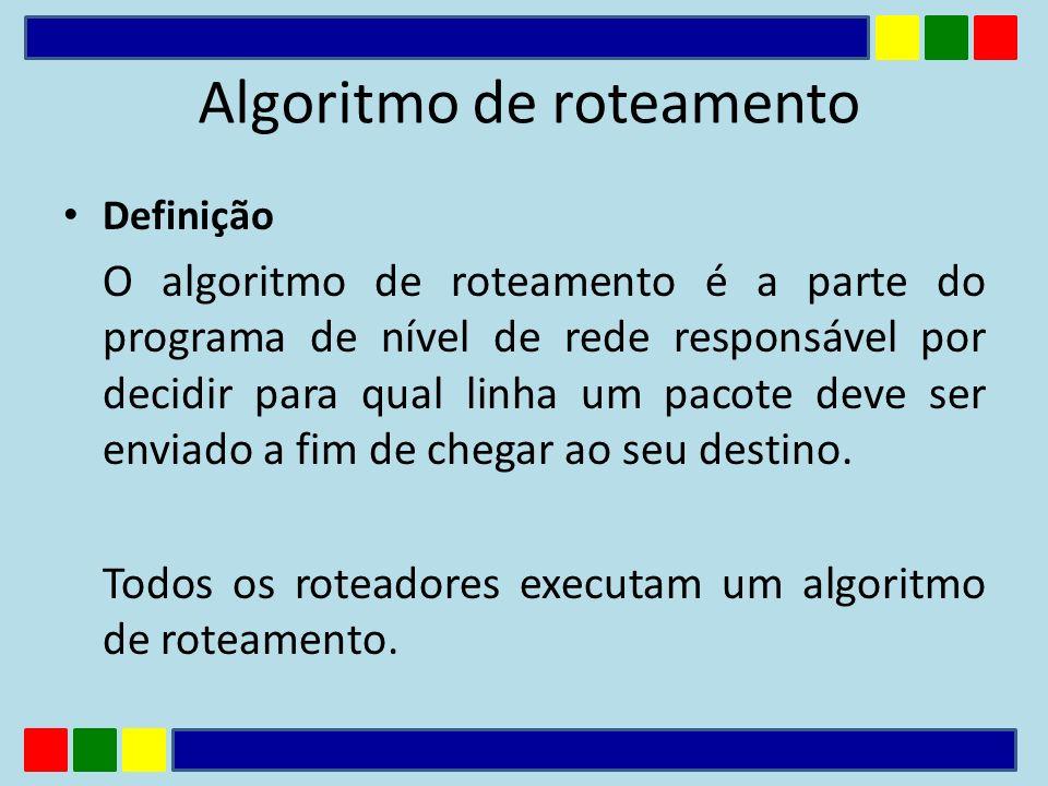 Definição O algoritmo de roteamento é a parte do programa de nível de rede responsável por decidir para qual linha um pacote deve ser enviado a fim de