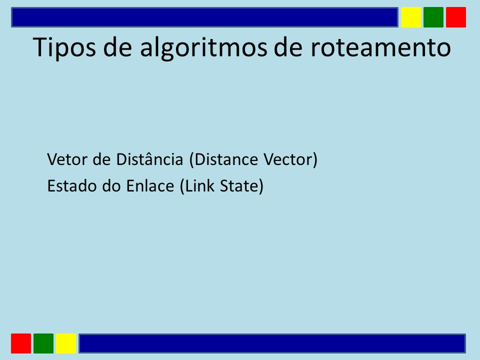 Vetor de Distância (Distance Vector) Estado do Enlace (Link State) Tipos de algoritmos de roteamento