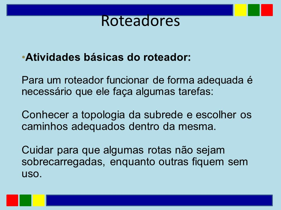 Atividades básicas do roteador: Para um roteador funcionar de forma adequada é necessário que ele faça algumas tarefas: Conhecer a topologia da subred