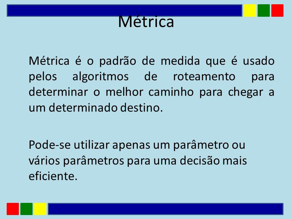 Métrica é o padrão de medida que é usado pelos algoritmos de roteamento para determinar o melhor caminho para chegar a um determinado destino. Pode-se