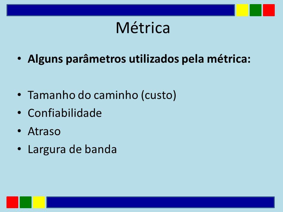 Alguns parâmetros utilizados pela métrica: Tamanho do caminho (custo) Confiabilidade Atraso Largura de banda Métrica
